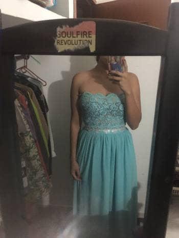 Vestido Elegante Azul Claro